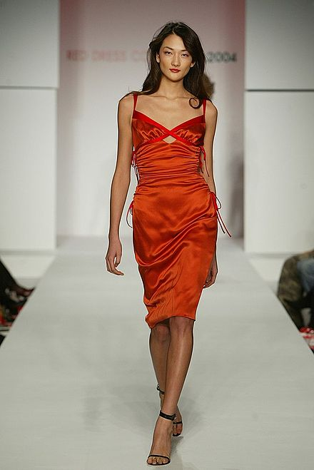 Model Ai Tominaga modeling in the 2004 Red Dress Collection for the Heart Truth campaign Ai Tominaga, Red Dress Collection 2004.jpg