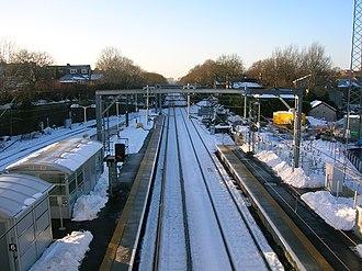 Airdrie railway station - Airdrie railway station, looking west