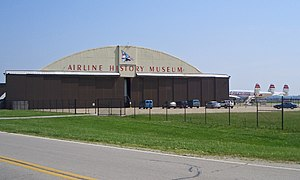 National Airline History Museum - National Airline History Museum at Charles B. Wheeler Downtown Airport, Kansas City, Missouri, with its Lockheed Constellation on the tarmac.