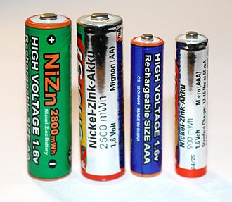 Nickel–zinc battery - Nickel–zinc cells in AA and AAA sizes
