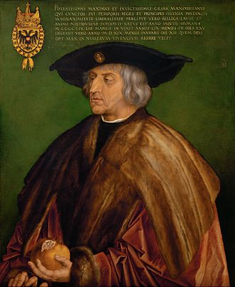 German Renaissance - Portrait of Emperor Maximilian I (reigned: 1493–1519), the first Renaissance monarch of the Holy Roman Empire, by Albrecht Dürer, 1519