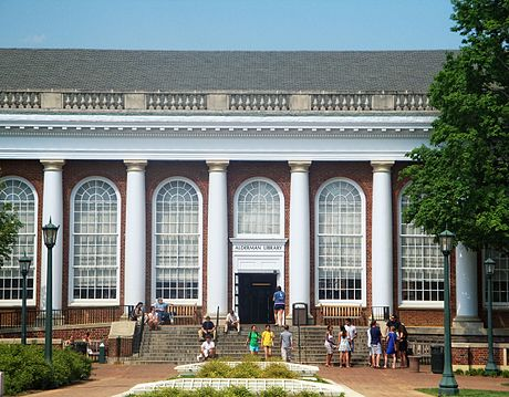 Alderman Library is home to 1.7 million books. It is one of eleven libraries at UVA, and hosts one-third of the 1.9 million visitors to the system each year as of 2018. Alderman Library.JPG