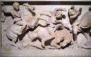Detail of Alexander on the Alexander Sarcophagus.