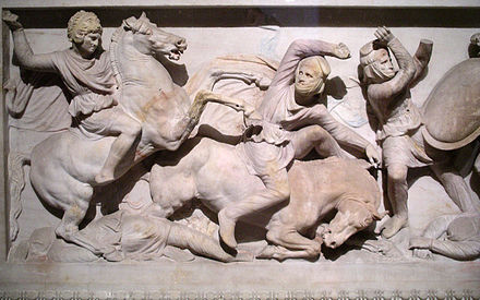 Detail of Alexander on the Alexander Sarcophagus Alexander Sarcophagus.jpg