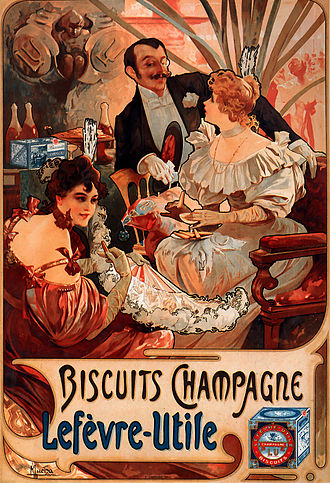 Lefèvre-Utile - Image: Alfons Mucha 1896 Biscuits Champagne Lefèvre Utile