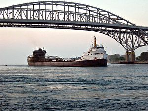 Algosteel passes under the Blue Water Bridges.jpg