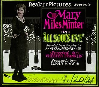 All Soul's Eve - Lantern slide for the film.