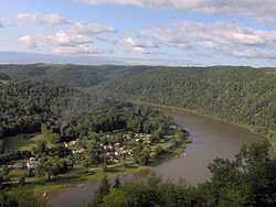 Along the Allegheny River; Bradys Bend Township is the lower area at left