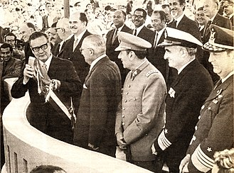 Carlos Prats - Salvador Allende with Carlos Prats and other commanders of the armed forces of Chile during the Military parade.
