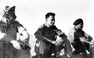 Yigal Allon - Allon (center) at Iraq Suwaydan, November 1948