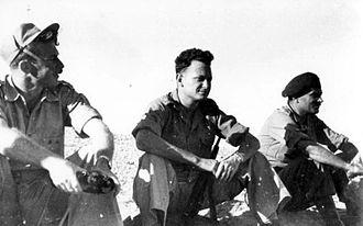 Yigal Allon - Allon (center) at Iraq Suwaydan, November 1948