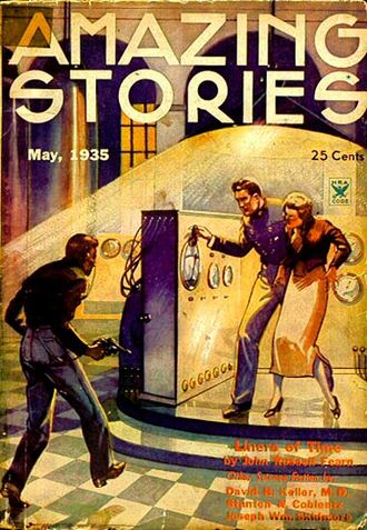 John Russell Fearn - The first installment of Fearn's novel Liners of Time took the cover of the May 1935 issue of Amazing Stories, illustrated by Leo Morey