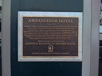 Ambassador Hotel (San Francisco) - Plaque commemorating the hotel's placement on the National Register of Historic Places