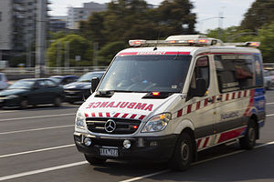 Ambulance Victoria Mercedes (014) paramedic at St Kilda Junction, 2013.JPG
