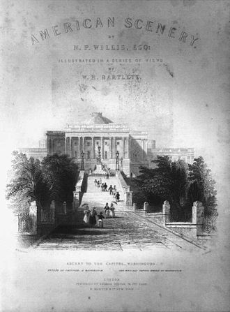 Nathaniel Parker Willis - American Scenery by N. P. Willis with illustration by William Henry Bartlett, 1840.