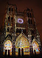 Amiens Cathedral facade by night in colors.jpg