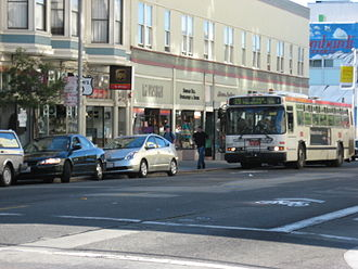 Polk Street - A Neoplan bus on Polk Street operating on San Francisco Municipal Railway's (MUNI) 19-Polk Line