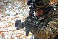An Italian soldier with the 183rd Airborne Regiment aims a SCP70 assault rifle during a decisive action training environment exercise at the Joint Multinational Readiness Center in Hohenfels, Germany 121028-A-RA799-017.jpg