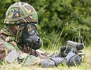 An instructor at the Defence NBC Centre operates the Manportable Chemical Agent Detector MOD 45148143
