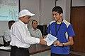 Anil Shrikrishna Manekar Presents Certificate to Prashant Abhijit Gokhale - Orientation cum Selection Camp for XXI International Astronomy Olympiad - NCSM - Kolkata 2016-05-17 3821.JPG