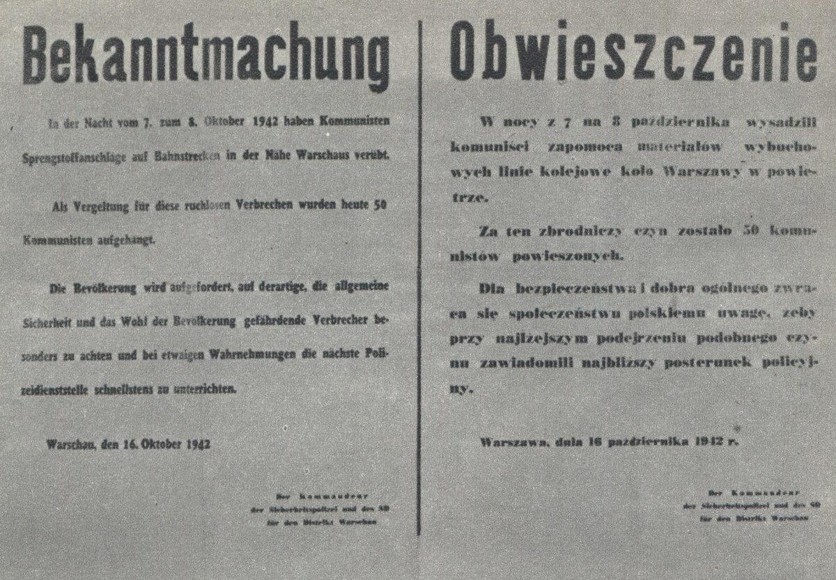 Announcement of death of 50 of Polish hostages hanged by Nazi-German occupants in Warsaw (October 1942).jpg