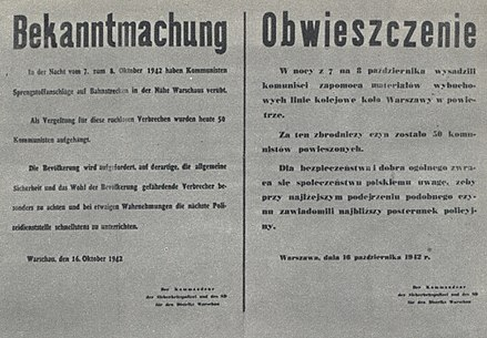 Announcement of the execution of 50 Polish hostages as a reprisal for blowing up railway lines near Warsaw Announcement of death of 50 of Polish hostages hanged by Nazi-German occupants in Warsaw (October 1942).jpg