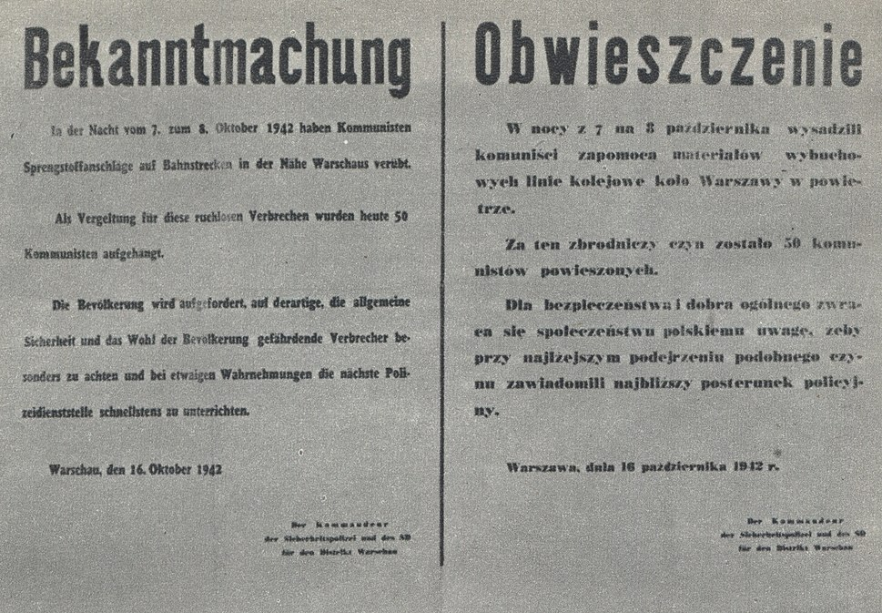 Announcement of death of 50 of Polish hostages hanged by Nazi-German occupants in Warsaw (October 1942)