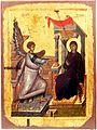 Annunciation, Early XIV Century, St Mary Perivleptos Church, Ohrid Icon Gallery.jpg