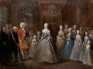Berlin Palace - The Prussian royal family receiving King August the Strong of Saxony and Poland at the Stadtschloss (1729)