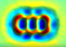 False Color AFM Image Of Anthracene Diradical Where Hydrogen Atoms Are Removed At Carbons 9 And 10