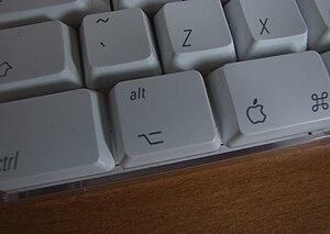 Alt key - The Alt key on an Apple keyboard