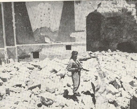 Arab Legion soldier in ruins of Hurva