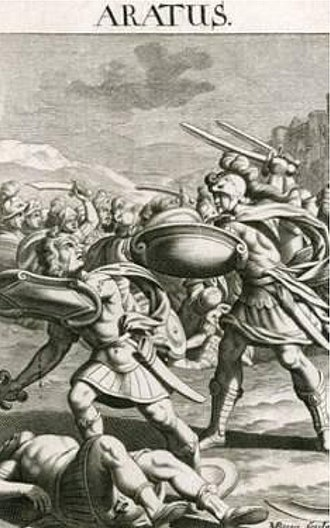Aratus of Sicyon - Aratus of Sicyon in combat. Late 17th century print.