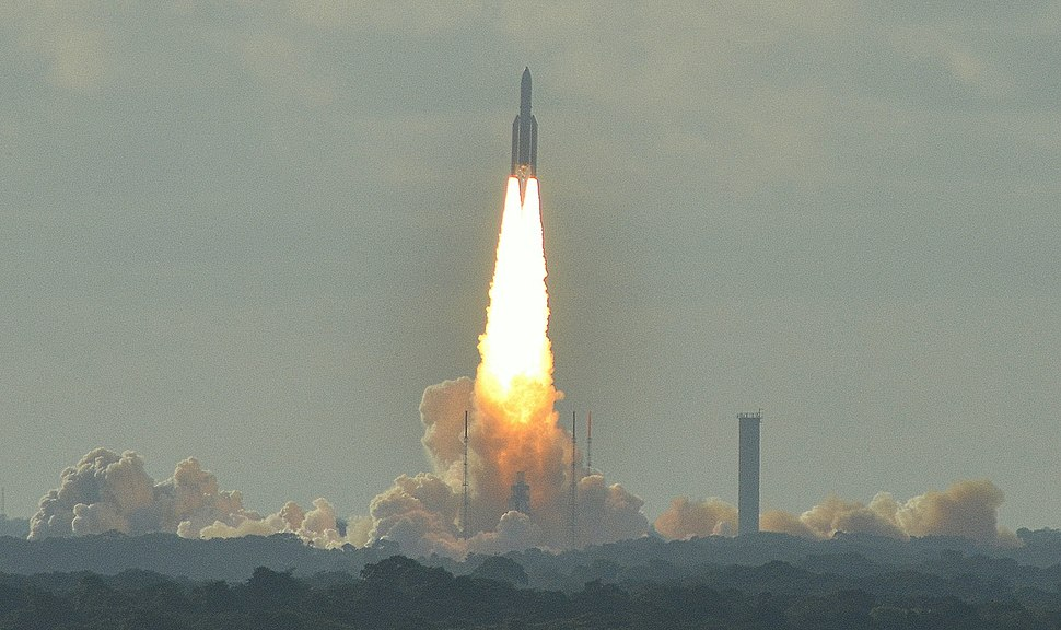 Ariane 5 lifting off from the Guiana Space Centre in Kourou, French Guiana