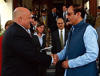 Shujaat Hussain - Chaudhry Shujaat Hussain, then Pakistan's Prime Minister, sees off US Deputy Secretary of State Richard Armitage, after their July 2004 meeting at the Prime Minister's residence in Islamabad, Pakistan.