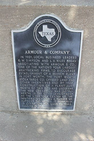 Armour and Company - Armour and Company historical marker in Fort Worth, Texas; the company closed its operations there in 1962