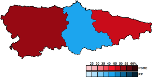 Asturian regional election, 2007 - Image: Asturias District Map Junta 2007