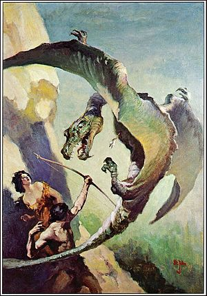 "Pellucidar - Painting of a ""thipdar"" for the cover of At the Earth's Core (1922), by James Allen St. John"