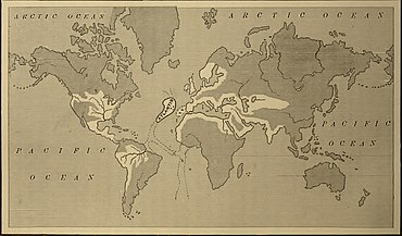 a map showing the supposed extent of the atlantean empire from ignatius l donnellys atlantis the antediluvian world 1882