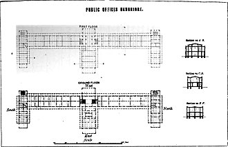 Richard Hieram Sankey - Plan of the government building in Bengaluru, now housing the High Court and known as the Attara Kacheri