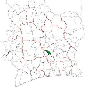 Attiégouakro Department - Image: Attiégouakro Department locator map Côte d'Ivoire