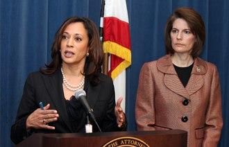Catherine Cortez Masto - Cortez Masto with then-California Attorney General Kamala Harris in December 2011.