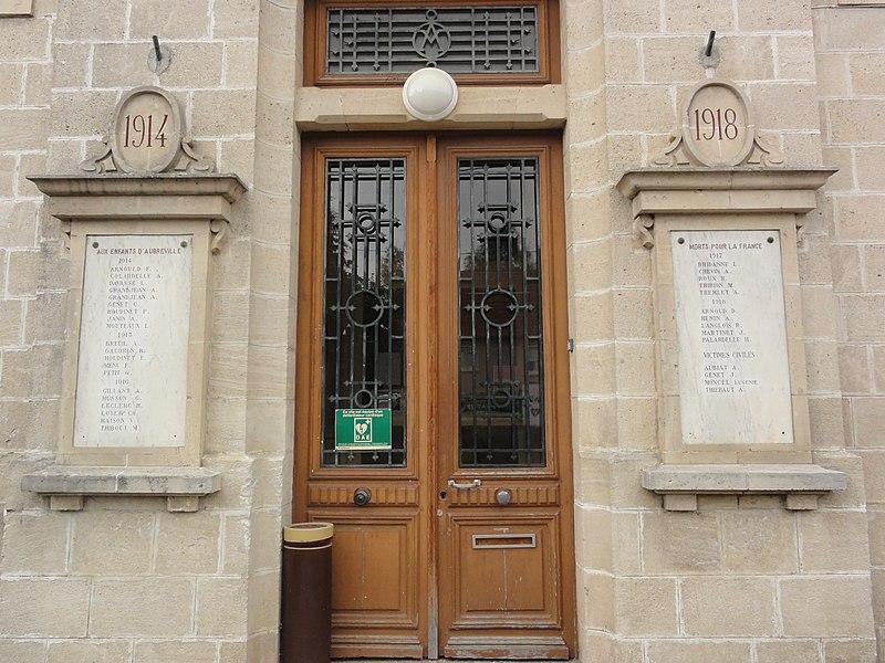 Aubréville (Meuse) mairie, plaques monument aux morts