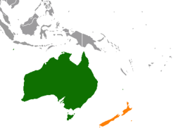 Map indicating locations of Australia and New Zealand