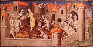 "Leo II, King of Armenia - A view of the busy port of Ayas when Marco Polo visited it in 1271, in ""Le Livre des Merveilles""."