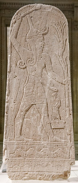 Hadad - Stele of Baal with Thunderbolt, 15th-13th century BCE. Found at the acropolis in Ras Shamra (ancient city of Ugarit).