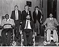Back row Mayor Raymond L. Flynn, Senator Edward M. Kennedy and Patrick Kennedy, Front row Darryl Williams, Director of Handicapped Affairs Commission Charles Sabatier and Darryl Stingley (9501950391).jpg