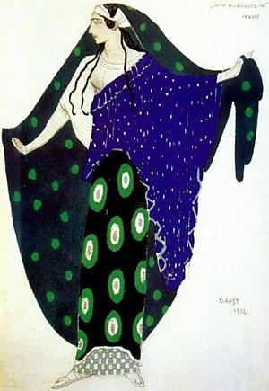 Déodat de Séverac - Costume for Ida Rubinstein in Séverac's ballet Helene de Troy, sketch by Léon Bakst (1912)