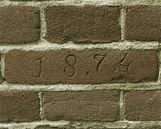 Dutch brick - Close-up of Dutch bricks with inscription