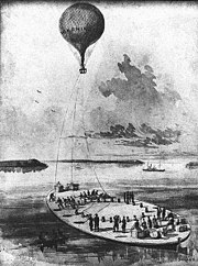 The Union Army balloon Washington aboard the George Washington Parke Custis, towed by the tug Coeur de Lion.